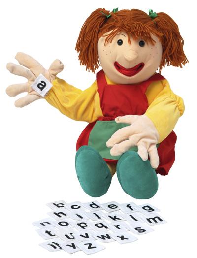 Handpoppen Handvertelpop Samantha met alfabet