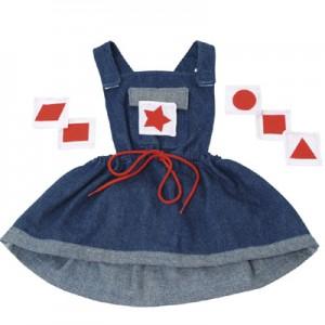 Kledingsets voor handpoppen Jeans jurkje met 6 verschillende vormen